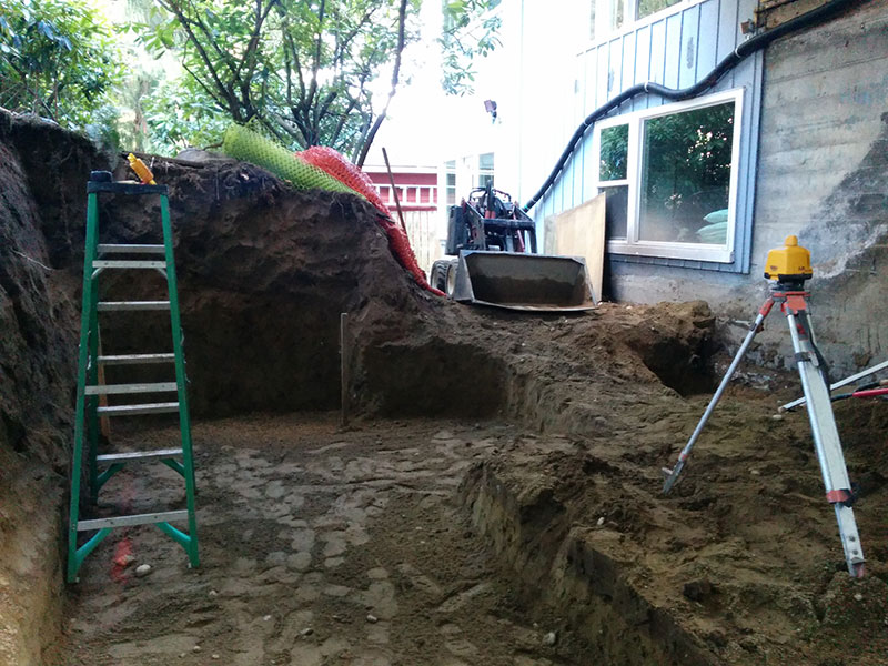 Outdoor Kitchen Construction - dirt removed to make way for footings