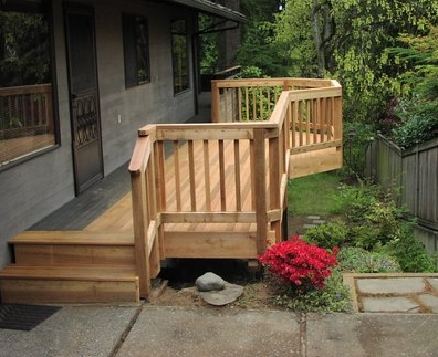 Second level deck/balcony built by landscape company, Environmental Construction