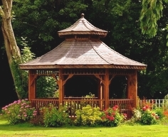 Gazebo in the landscape for entertaining and relaxation