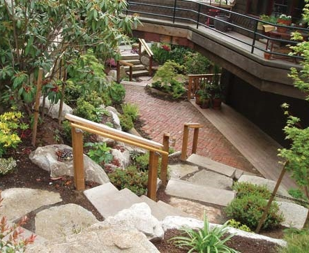 Hillside landscaping with plantings and rock