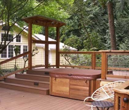 Hot tub deck designed by Environmental Construction Inc. in Kirkland WA