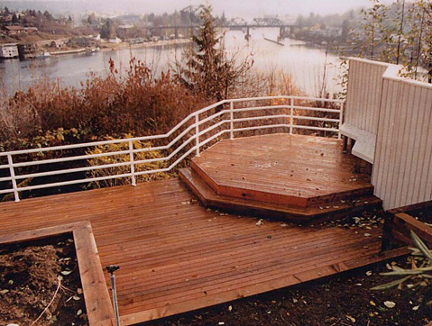 Raised deck designed by Environmental Construction Inc. in Kirkland WA