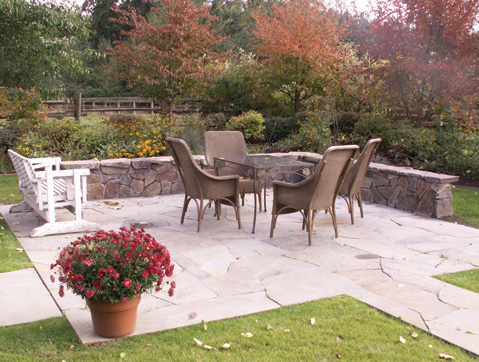 Cut stone patio designed by Environmental Construction Inc. in Kirkland WA