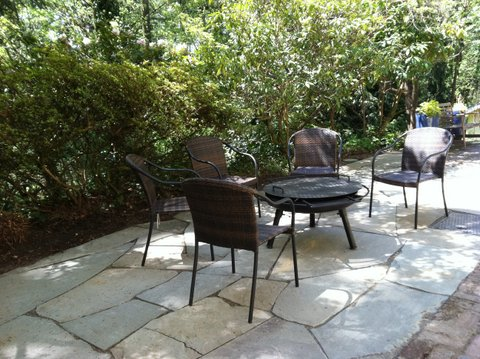 Natural stone patio designed by Environmental Construction Inc. in Kirkland WA