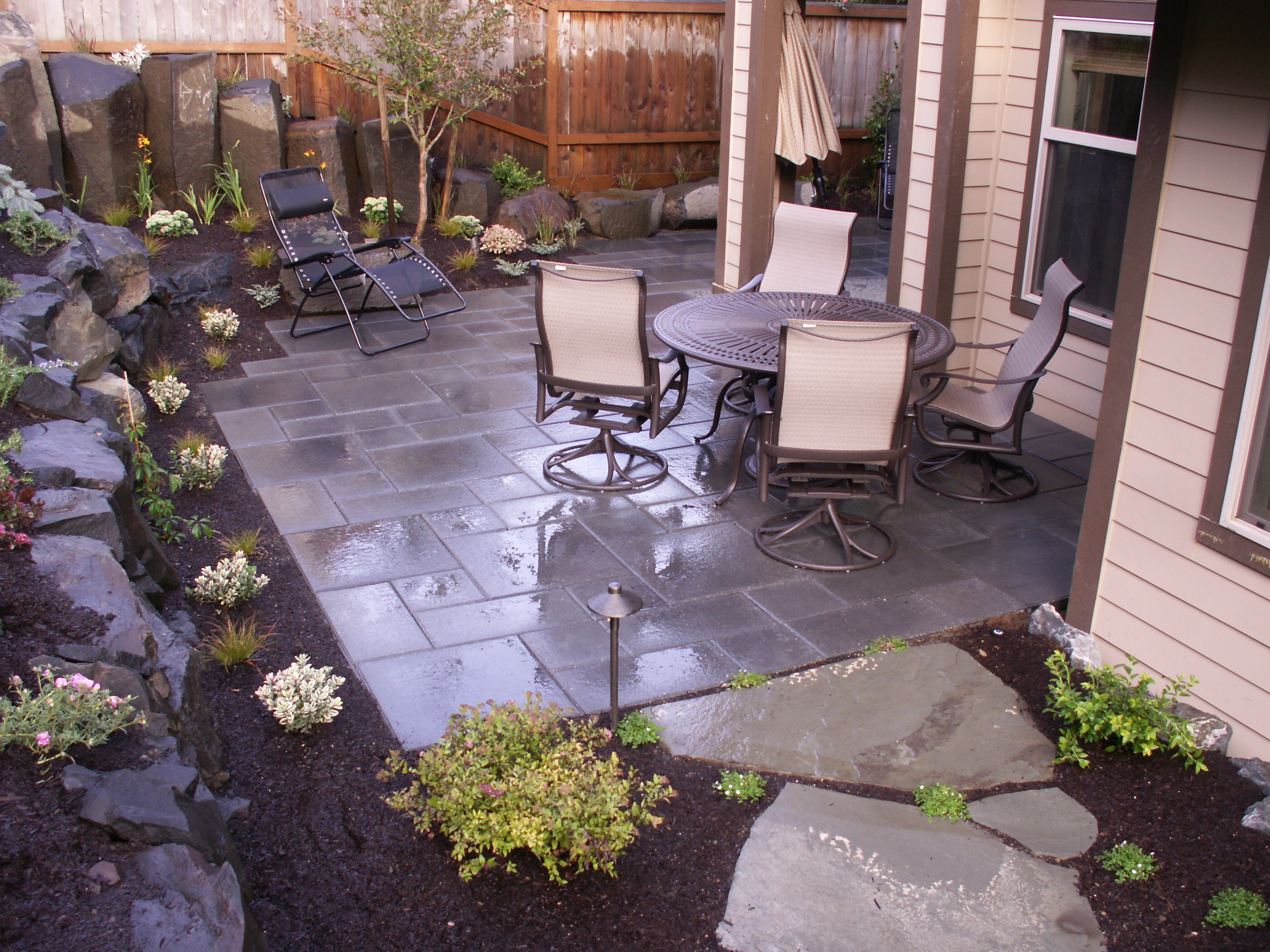 Slate patio designed by Environmental Construction Inc. in Kirkland WA