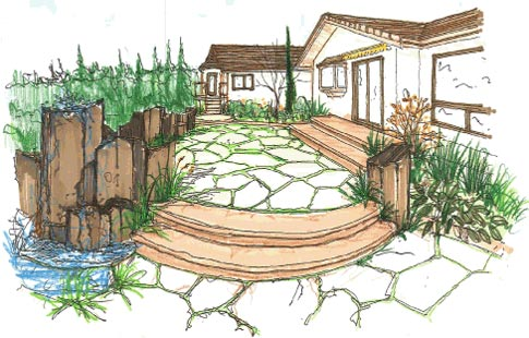 Landscape sketch drawn by Environmental Construction Inc.